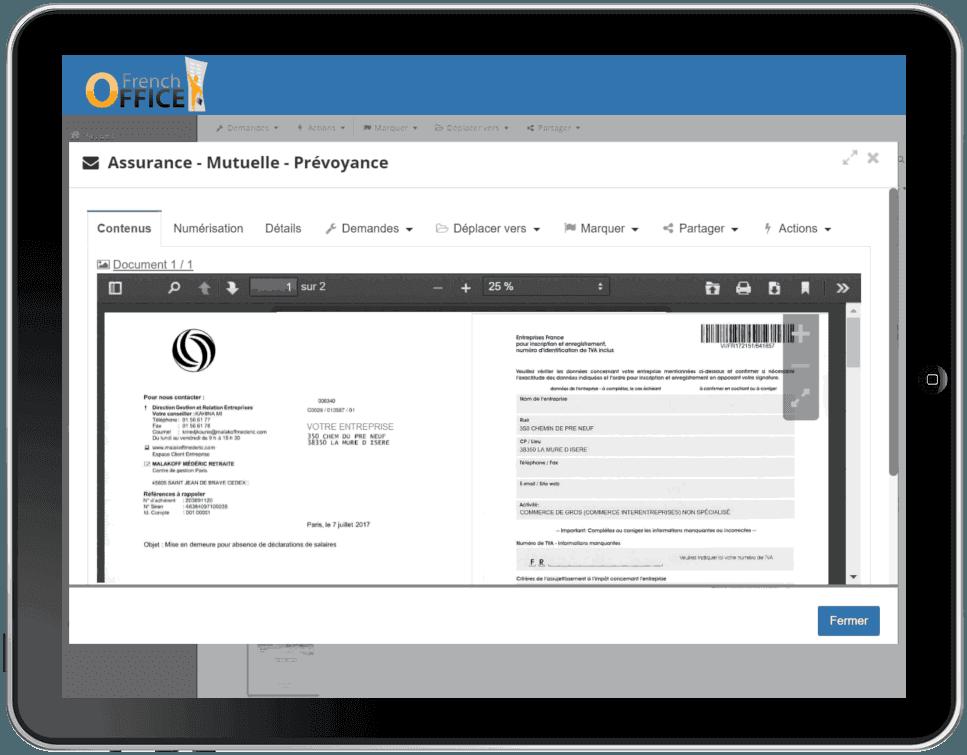 Chaque numérisation du courrier est disponible en ligne, sur l'espace client